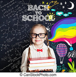c5adeeab33d9 ?hild girl with book on chalk board background. Back to school, elementary  school ?
