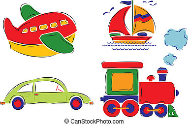 ?hild has drawn car, plane, ship and train, vector illustration