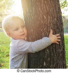 ?hild, het koesteren, een, boom., milieu, bescherming, concept
