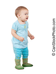 hild standing over white background