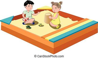 hildren play in the sandbox. Vector illustration