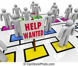 hilfe, bekommen, -, arbeit, position, gewollt, rgeöffnete