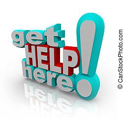 hilfe erhalten, hier, -, kundendienst, service, lösungen