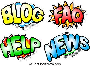 hilfe, faq, effekt, blog, nachrichten, blasen