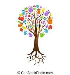 hilfe, farbe, baum, gemeinschaft, hand, verschieden