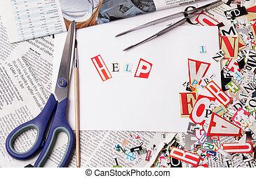 hilfe, inschrift, gemacht, mit, ausschneiden, briefe