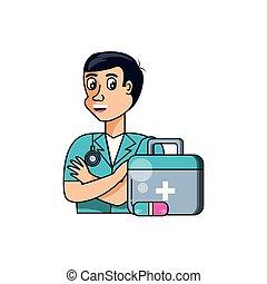 hilfe, professionell, satz, zuerst, doktor