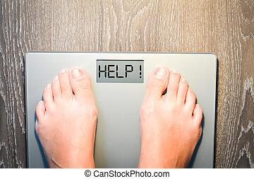 hilfe, verlieren, kilogramm, mit, frau, füße, treten, a, gewichtsskalenfaktor