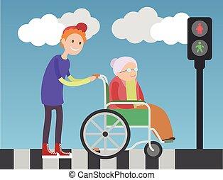hilft, altes , art, junge, wheelchair., dame