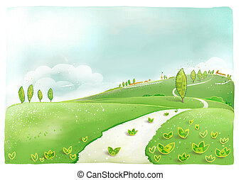 hill - a beautiful drawing of plant and road and houses in...