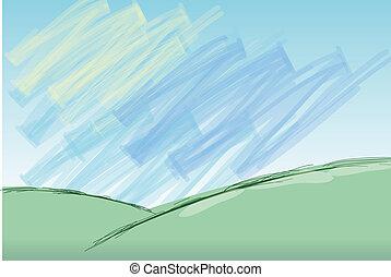 illustration of hill landscape against blue sky