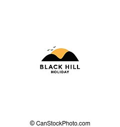 hill and sun illustration for holiday logo design template