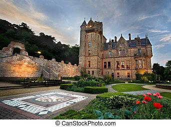 hill., caverne, belfast, château