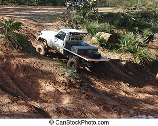 Hill Climb attempt - A ute attempting a hill Climb