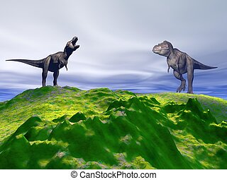 hill green and dinosaur