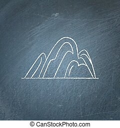 Hill icon on chalkboard