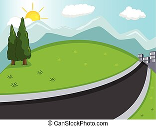 Hill, mountain and road background cartoon