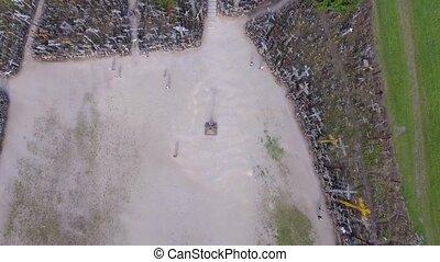 Hill of Crosses, Siauliai. Overhead aerial view in summer season.