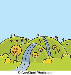 Hill Road - A cartoon road running over the hills in autumn.
