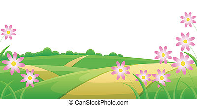 Road through hill landscape with purple flower on the side