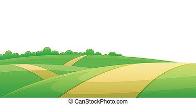 Hill road - Road through hill landscape with rural farmland...