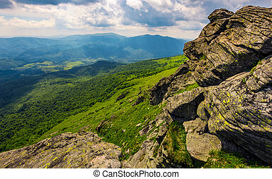 hill side with boulders in Carpathian mountains - landscape...