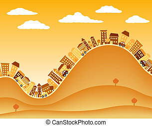 Illustration of a hilly town