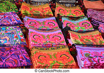 Colorful hill tribe bags