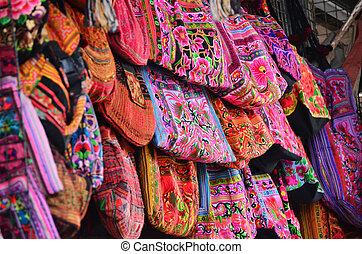 Colorful hill tribe shoulder bag