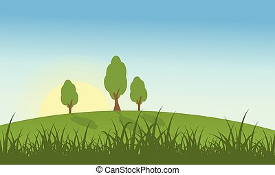 Hill with grass and tree landscape