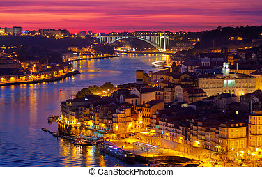 hill with old town of Porto at sunset close up, Portugal
