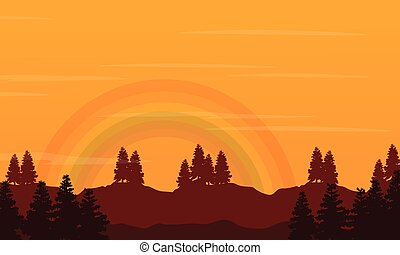 Hill with rainbow beauty landscape silhouettes