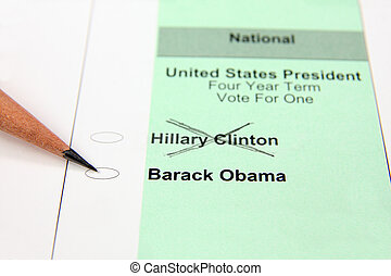 Close up of ballot showing Hillary Clinton's name crossed out with pencil pointing to Barack Obama's name - intended to depict Obama's likely win of Democratic nomination