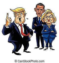 hillary, illustration., triunfo, caricatura, vector, donald, 2017, obama., caricatura, barack, clinton, septiembre, 28