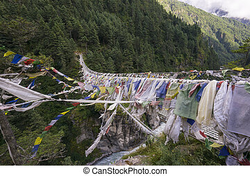 Hillary Suspension Bridge from lest side, Everest region, Nepal