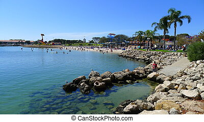 hillarys, playa, barco, puerto