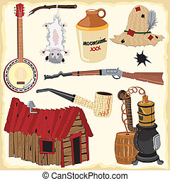 hillbilly, clipart, iconen, en, element