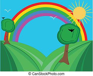Hills and rainbow, brighten the da