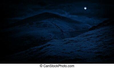 Hills At Night Under Full Moon - Hills under a full moon...