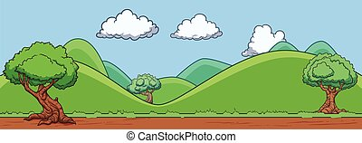 Seamless background of a landscape with hills and trees. Vector illustration. All in a single layer.