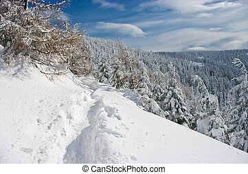 Hills covered by snow