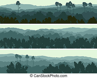 Horizontal abstract banners of hills of deciduous wood in dark green tone.
