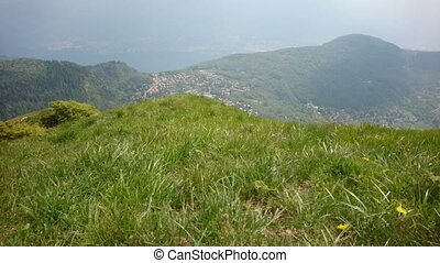 Hills facing lake of Como in Italy