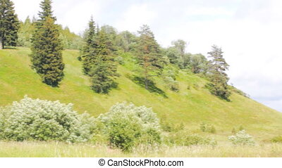 Hills, groves and meadows in upper reaches of Russian river...