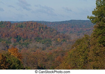 Hills in the fall - Fall colors in the Ozark mountains in ...