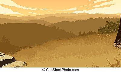 hills landscape illustration - hills landscape flat color ...