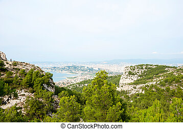 Hills, mountains and see of Calanque national park, ...