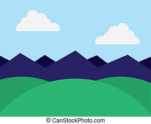 Green hills and purple mountains in the background