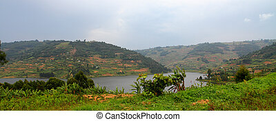 Hills of Lake Bunyoni in Uganda