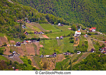 Hills of Plesivica vineyards and cottages